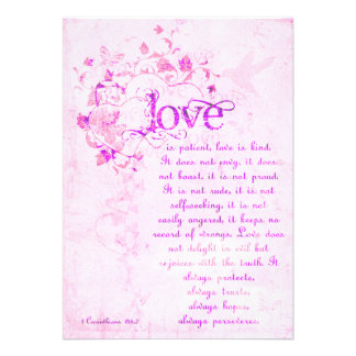 KRW Corinthians Love is: Wedding Invitation Pink