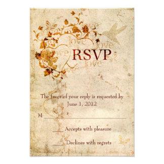 KRW Corinthians Love is: Wedding RSVP Ecru Personalized Announcement