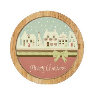 KRW Country Christmas Village Cheese Board Round Cheeseboard