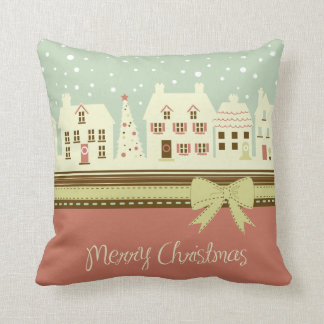 KRW Country Christmas Village Pillow