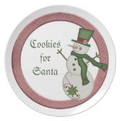 KRW Country Snowman Cookies for Santa Plate plate
