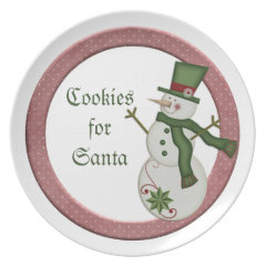 KRW Country Snowman Cookies for Santa Plate