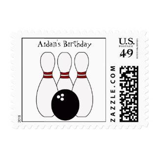 KRW Custom Bowling Birthday Party Postage Stamp