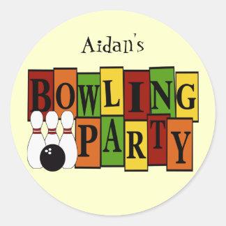 KRW Custom Bowling Birthday Party Classic Round Sticker