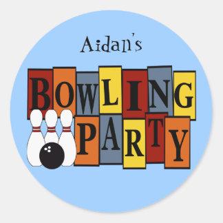 KRW Custom Bowling Birthday Party Round Stickers