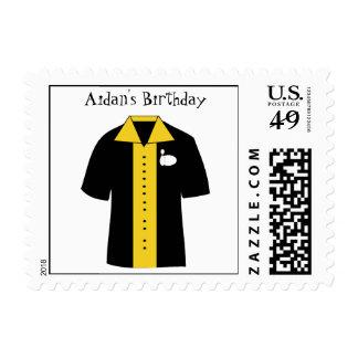 KRW Custom Bowling Shirt Birthday Party Postage Stamp