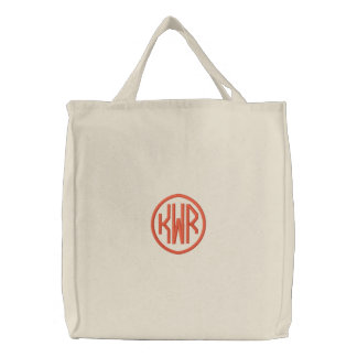 KRW Custom Circle Monogram in Orange Embroidered Tote Bag