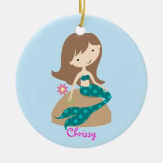 KRW Custom Cute Teal Mermaid Photo Ornament