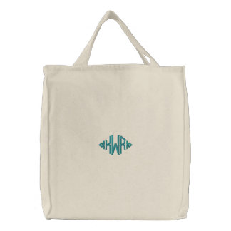 KRW Custom Diamond Monogram in Teal Embroidered Tote Bag