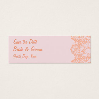 KRW Custom Elegant Floral Pink Save the Date Mini Business Card