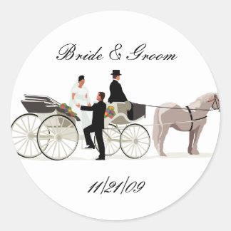 KRW Custom Elegant Horse Drawn Carriage Wedding Classic Round Sticker