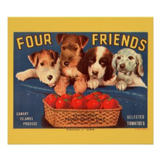 KRW CUSTOM Four Friends Vintage Tomato Label Posters