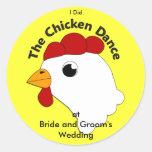 KRW Custom Funny Chicken Dance Wedding Classic Round Sticker