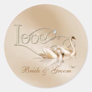 KRW Custom Graceful Swans Love Wedding Seals Classic Round Sticker
