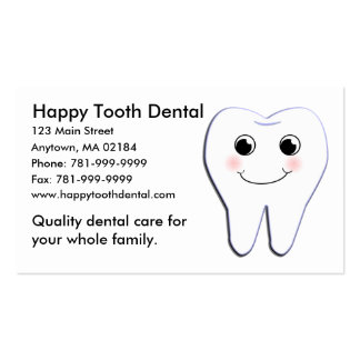 KRW Custom Happy Tooth Dental Appointment Business Card Template