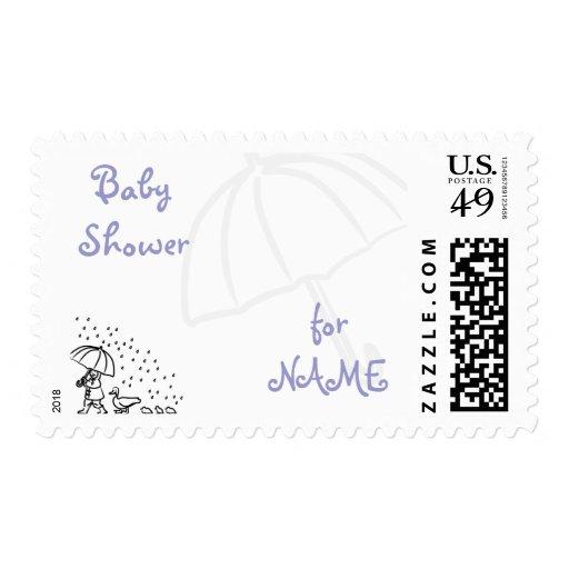 KRW Custom Little Ducks Blue Baby Shower Postage