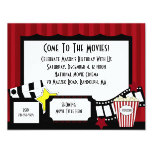 Movie Birthday Invitations Announcements Zazzle
