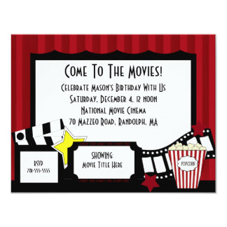 KRW Custom Movie Birthday Party Invitations