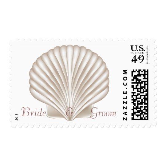 KRW Custom Name Sea Shell Beach Wedding Stamp