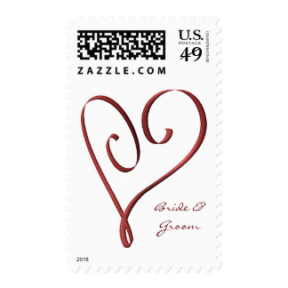 KRW Custom Name Stylized Red Heart Wedding Stamps