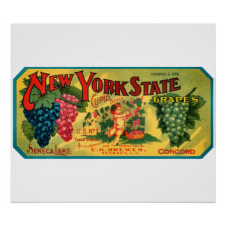 KRW CUSTOM NY State Grapes Vintage Crate Label Poster