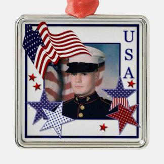 KRW Custom Photo Patriotic USA Flag Ornament