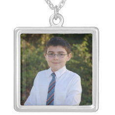KRW Custom Photo Square Sterling Silver Necklace at Zazzle
