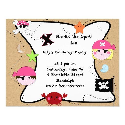 KRW Custom Pink Pirate Birthday Party Custom Invites