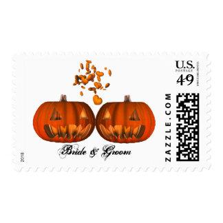 KRW Custom Pumpkin Love Halloween Wedding Postage Stamps
