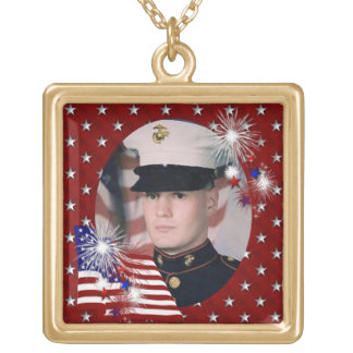 KRW Custom Red Patriotic Photo Frame Necklace