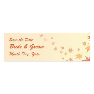 KRW Custom Save the Date Fall Leaves Wedding Business Cards