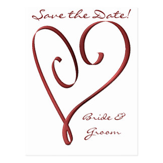 KRW Custom Stylized Red Heart Save the Date Post Card