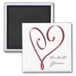 KRW Custom Stylized Red Heart Wedding Favor Fridge Magnets