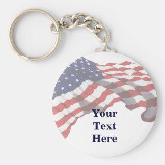 KRW Custom Text American Flag Keychain