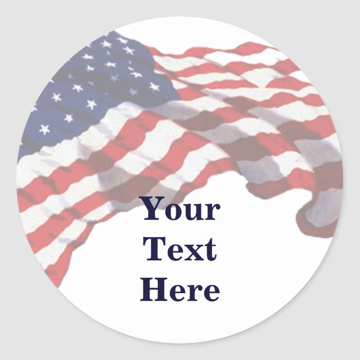 KRW Custom Text American Flag Stickers