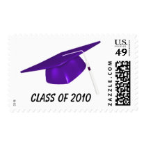 KRW Custom Text Purple Graduation Cap Postage
