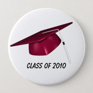 KRW Custom Text Red Graduation Cap Pinback Button