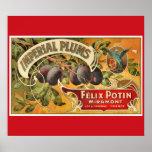 KRW CUSTOM Vintage Imperial Plum Fruit Crate Label Print