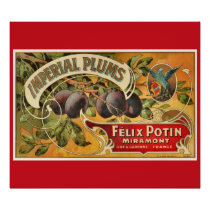 KRW CUSTOM Vintage Imperial Plum Fruit Crate Label Poster