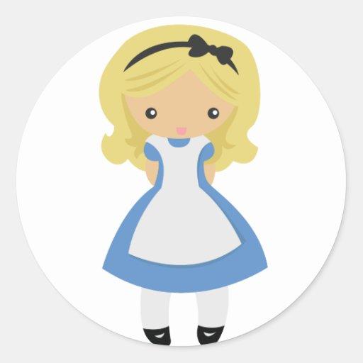 KRW Cute Alice in Wonderland Round Stickers