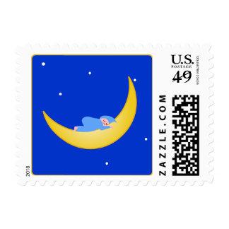 KRW Cute Baby Sleeping on the Moon Postage