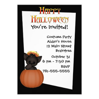 KRW Cute Black Cat Custom Halloween Invitation