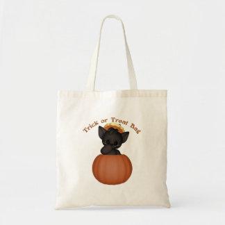 KRW Cute Black Kitten Halloween Trick or Treat Tote Bag
