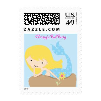 KRW Cute Blue Mermaid Custom Birthday Party Stamp