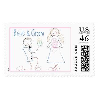 KRW Cute Bride & Groom Custom Wedding Stamp