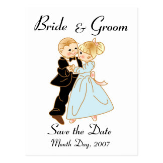 KRW Cute Bride & Groom Save the Date Custom Postca Postcard