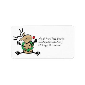 KRW Cute Cartoon Reindeer Address Label