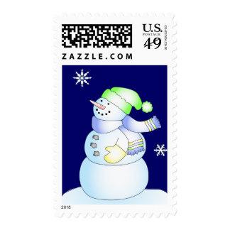 KRW Cute Cartoon Snowman Holiday Postage Stamp