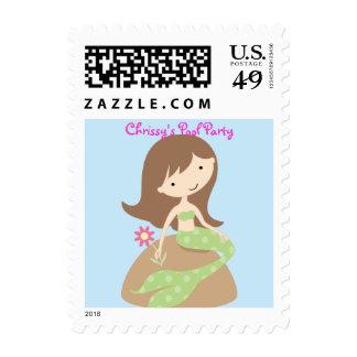 KRW Cute Green Mermaid Custom Birthday Party Postage Stamps