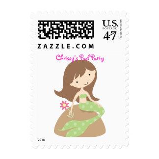 KRW Cute Green Mermaid Custom Birthday Party Postage Stamp